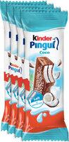 Kinder pingui coco gouter frais genoise fourree lait et noix de coco enrobee de chocolat superieur au lait avec decor au coco t4 pack de 4 - Produit - fr