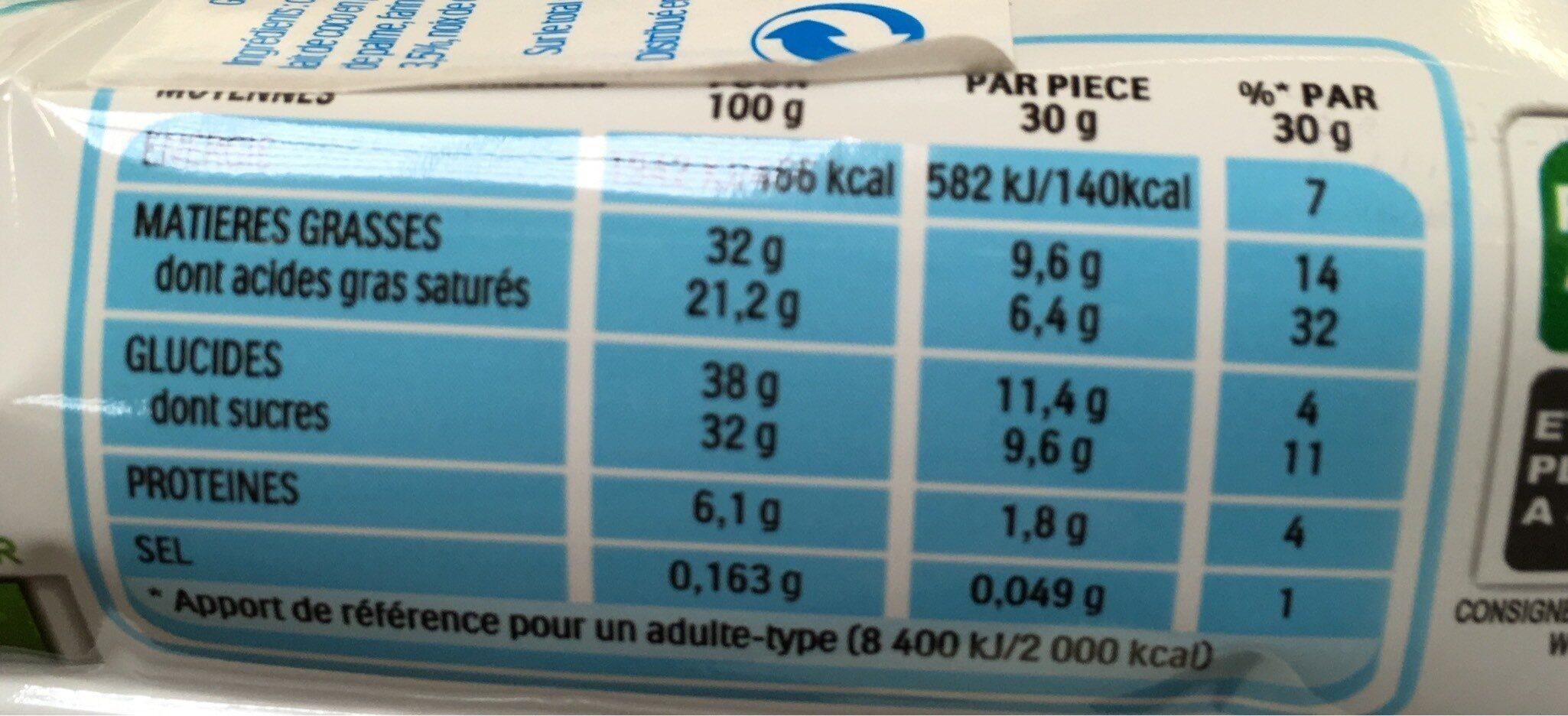 Kinder pingui coco gouter frais genoise fourree lait et noix de coco enrobee de chocolat superieur au lait avec decor au coco t4 pack de 4 - Informations nutritionnelles - fr