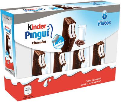 Kinder pingui gouter frais genoise avec chocolat noir extra, fourree lait et cacao t8 pack de 8 etuis - Prodotto - fr