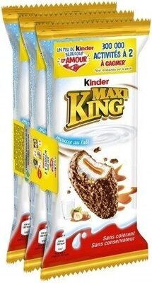 Kinder maxi king gouter frais fines gaufrettes enrobees de chocolat au lait et noisettes broyees, avec fourrage lait et caramel t3 pack de 3 etuis - Produit - fr