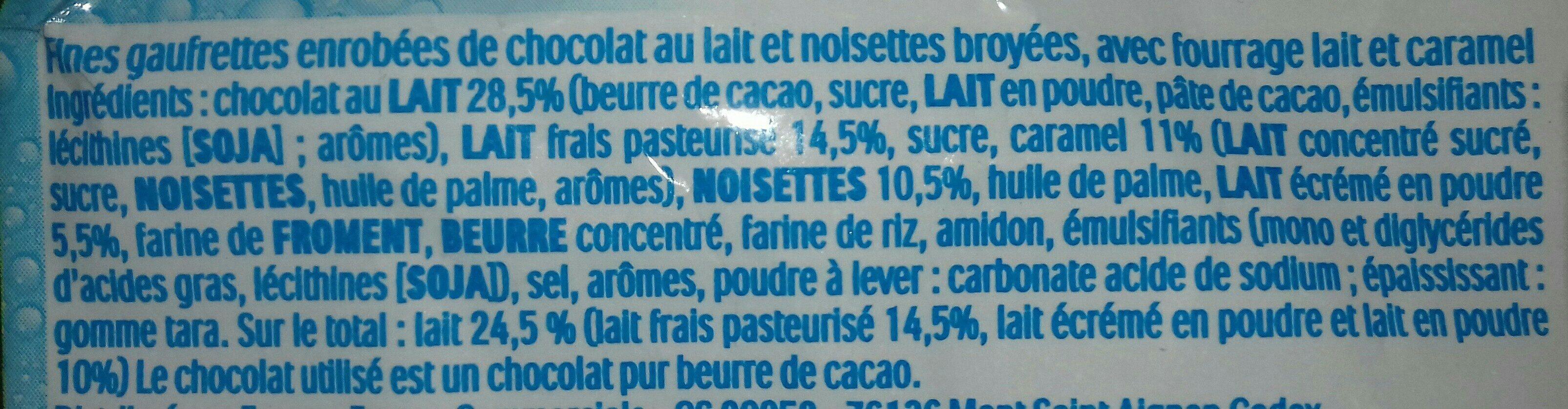 Kinder maxi king gouter frais fines gaufrettes enrobees de chocolat au lait et noisettes broyees, avec fourrage lait et caramel t3 pack de 3 etuis - Ingrédients - fr