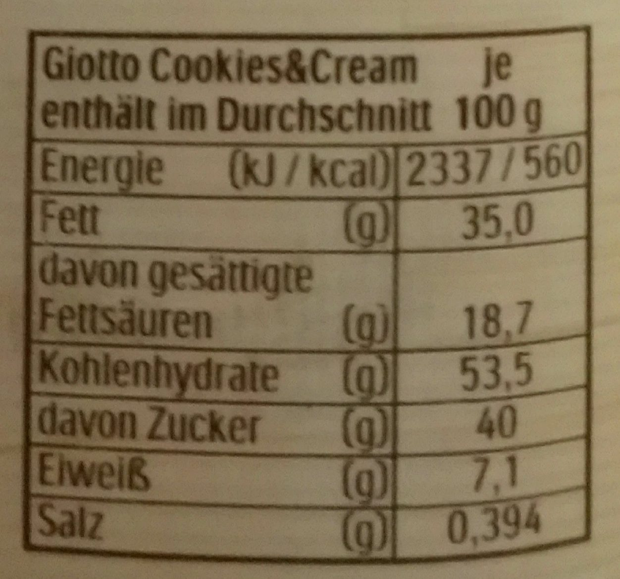Giotto cookies&cream - 154g  Giotto cookies&...