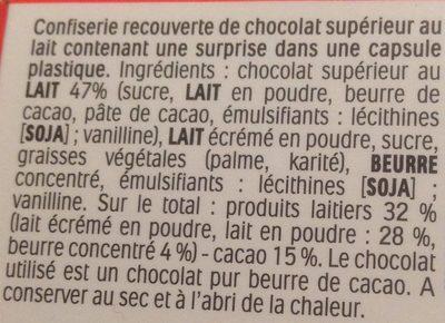 Kinder Surprise - Ingredienti - fr