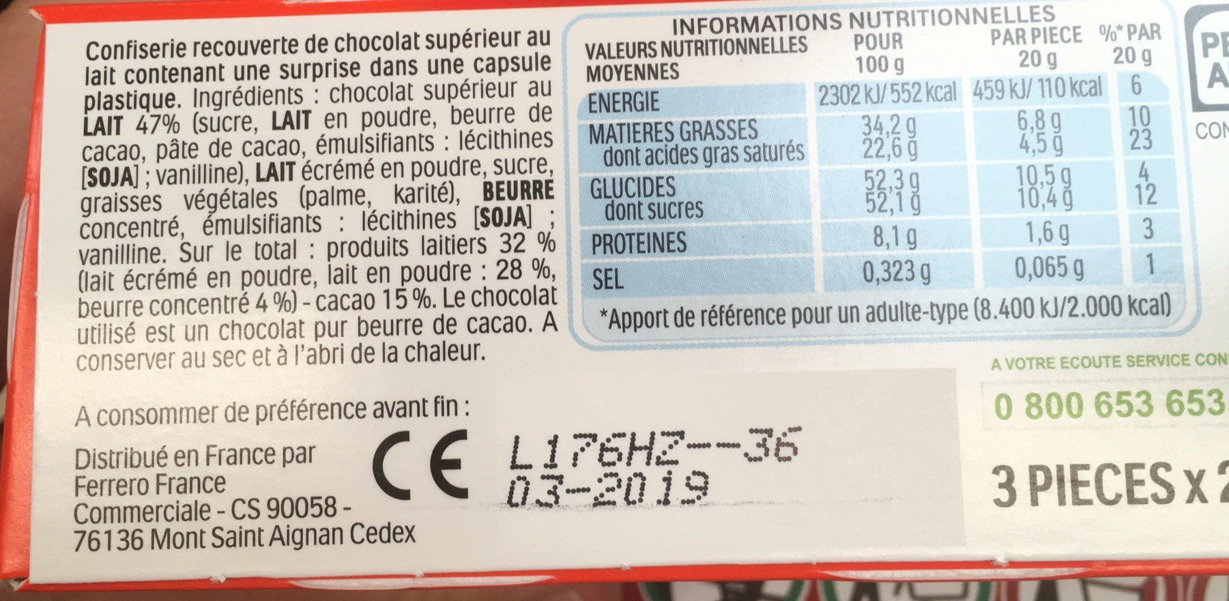 Kinder Surprise - Valori nutrizionali - fr