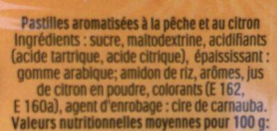 Tic Tac Mixer peche limonade - Ingrédients - fr