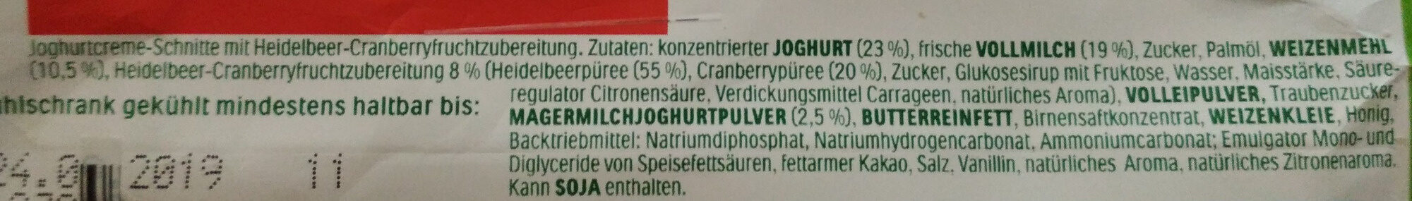Joghurt-Schnitte Heidelbeere & Cranberry - Ingredients