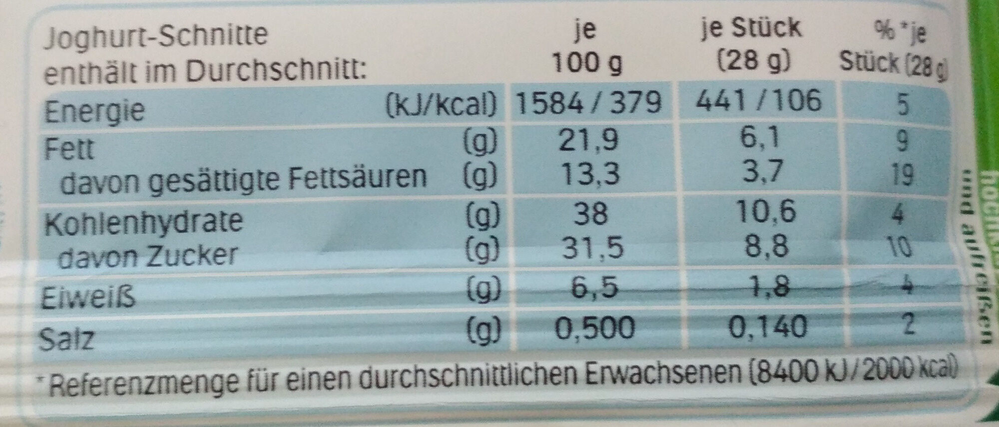 Joghurt-Schnitte Heidelbeere & Cranberry - Nutrition facts