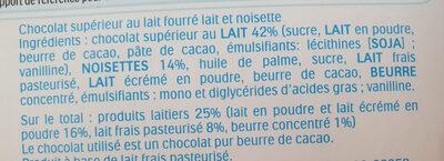 Kinder chocofresh gouter frais chocolat superieur au lait fourre lait et noisette t5 pack de 5 etuis - Ingredienti - fr