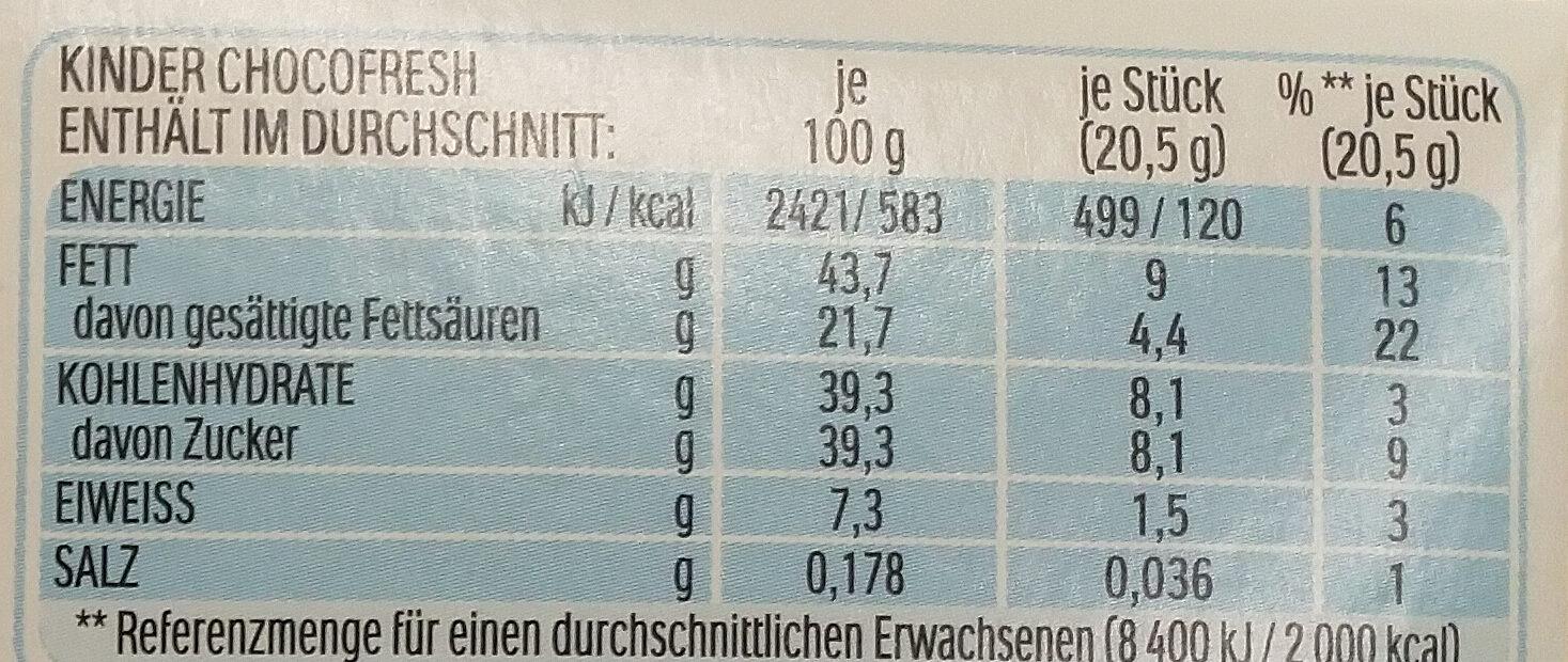 Choco fresh - Voedingswaarden - de