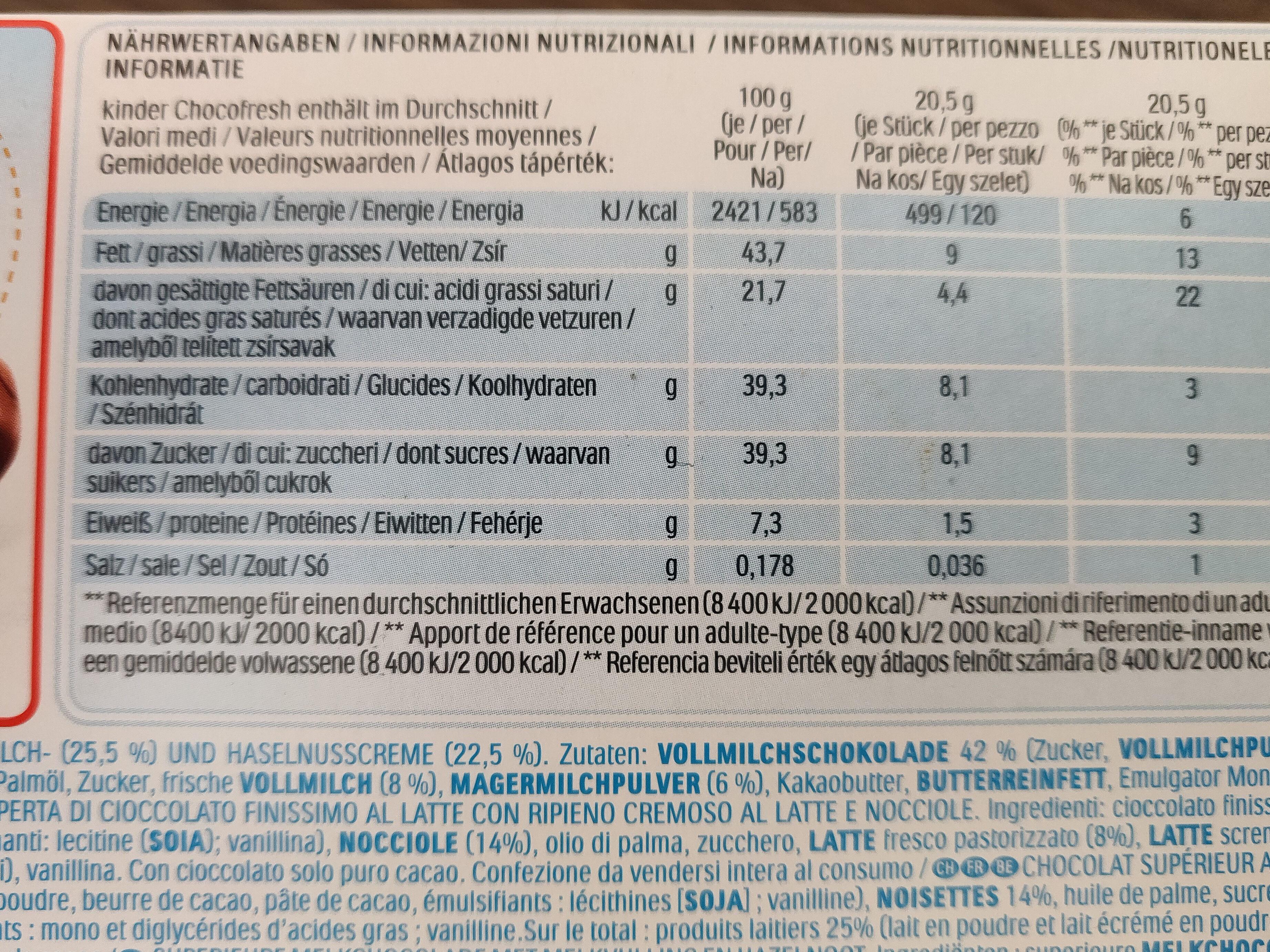 Choco fresh - Informations nutritionnelles - fr