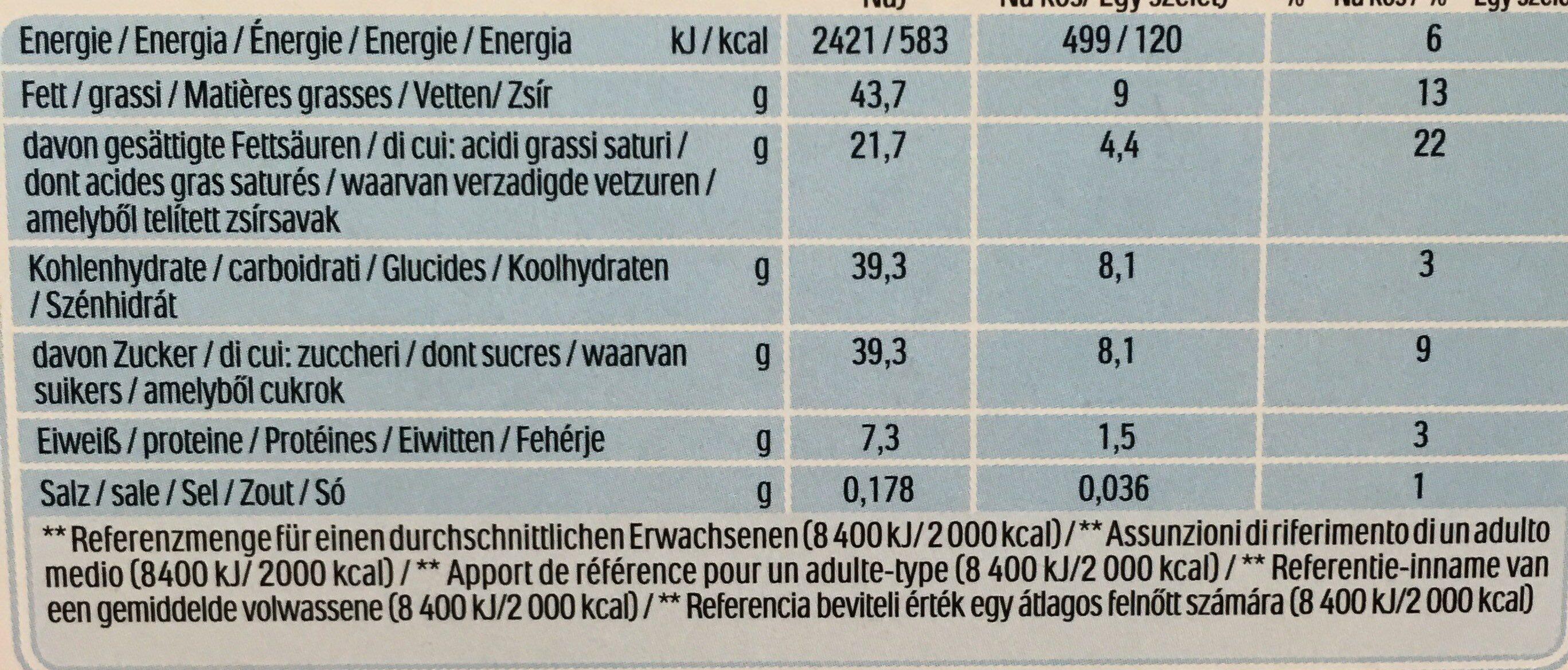 Kinder chocofresh gouter frais chocolat superieur au lait fourre lait et noisette t5 pack de 5 etuis - Valori nutrizionali - fr