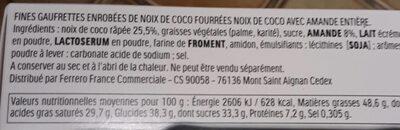 Raffaello fines gaufrettes enrobees de noix de coco fourrees noix de coco avec amande entiere 23 pieces - Ingrédients - fr