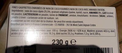 Raffaello fines gaufrettes enrobees de noix de coco fourrees noix de coco avec amande entiere 23 pieces - Informations nutritionnelles - fr