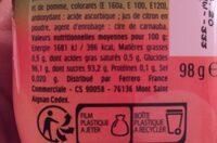 Tic tac duo t200 music box de 200 - Informations nutritionnelles - fr