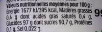 Tic Tac Menthe Box - Informations nutritionnelles - fr