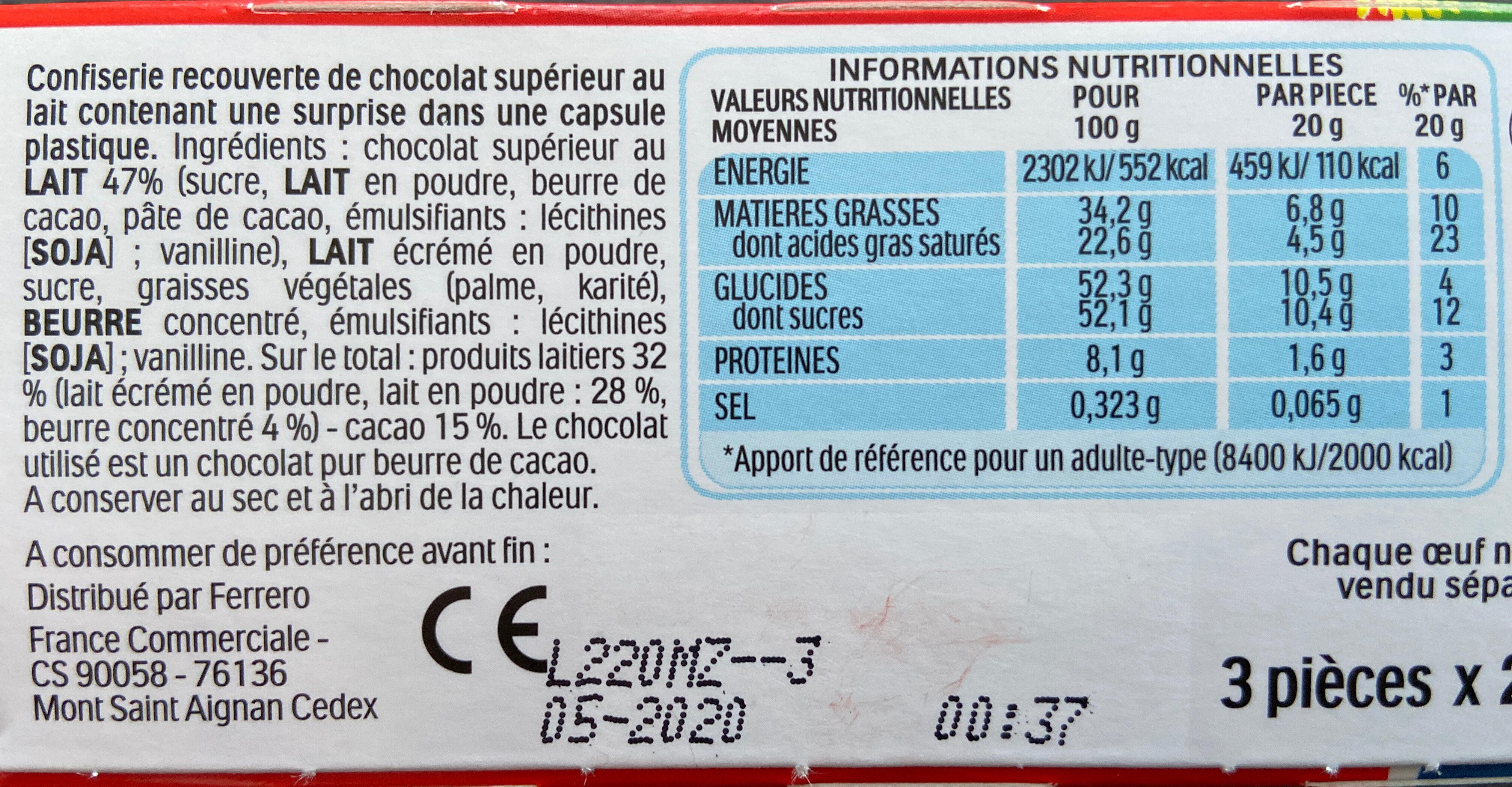 Kinder surprise - Ingrediënten - fr