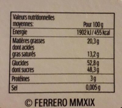 Mon cheri cerise bonbons de chocolat noir fourres cerise et liqueur boule noel boule de 4 bouchees - Valori nutrizionali - fr