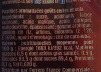 Tic tac cerise cola t4 t(33x4) pack de 4 etuis - Informations nutritionnelles - fr