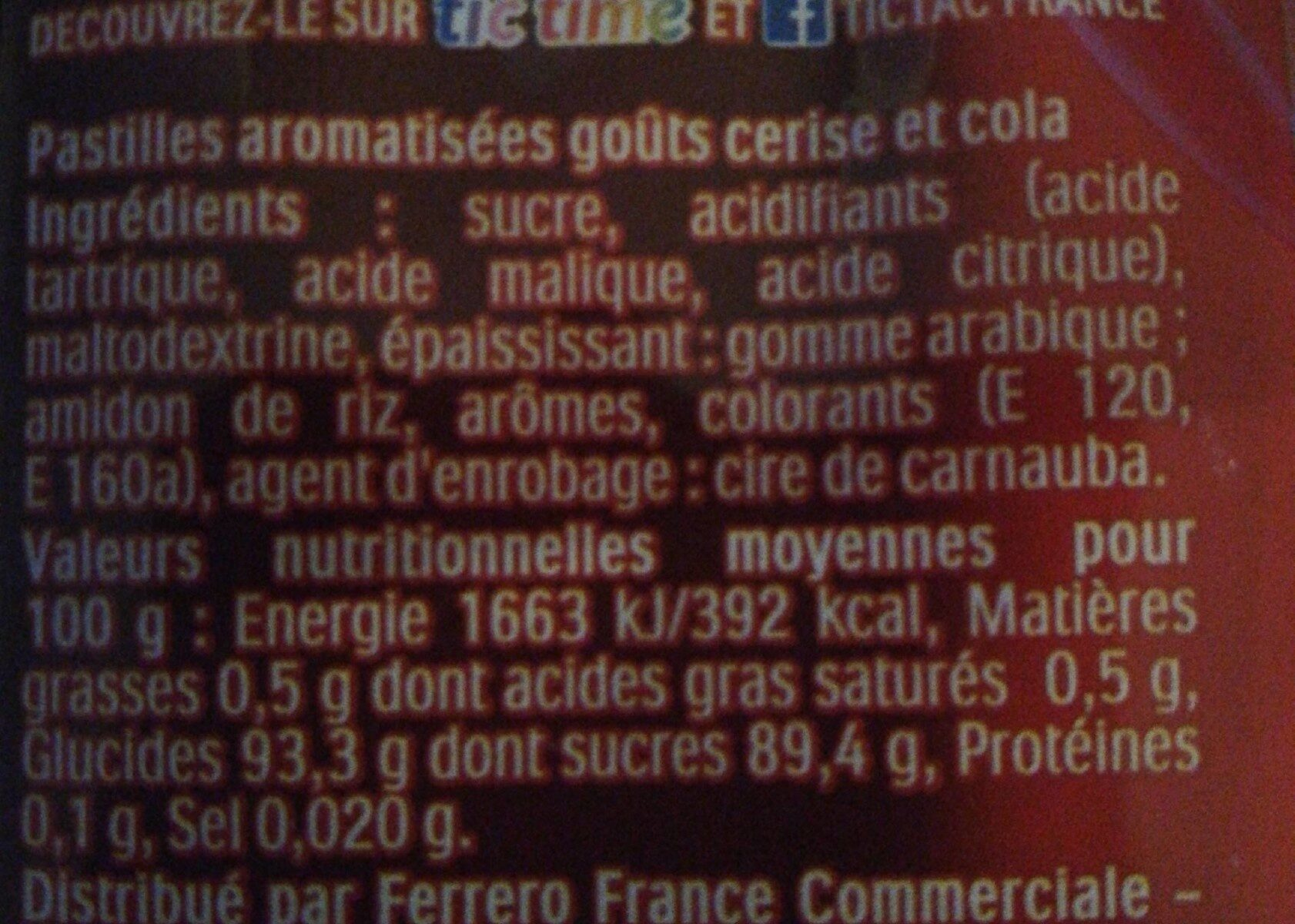 Tic Tac cerise-cola - Nutrition facts - fr