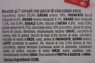 Kinder cereale chocolat noir biscuit petit dejeuner aux cereales et pepites de chocolat noir (2x6) pack de 6x2 biscuits - Ingredienti - it