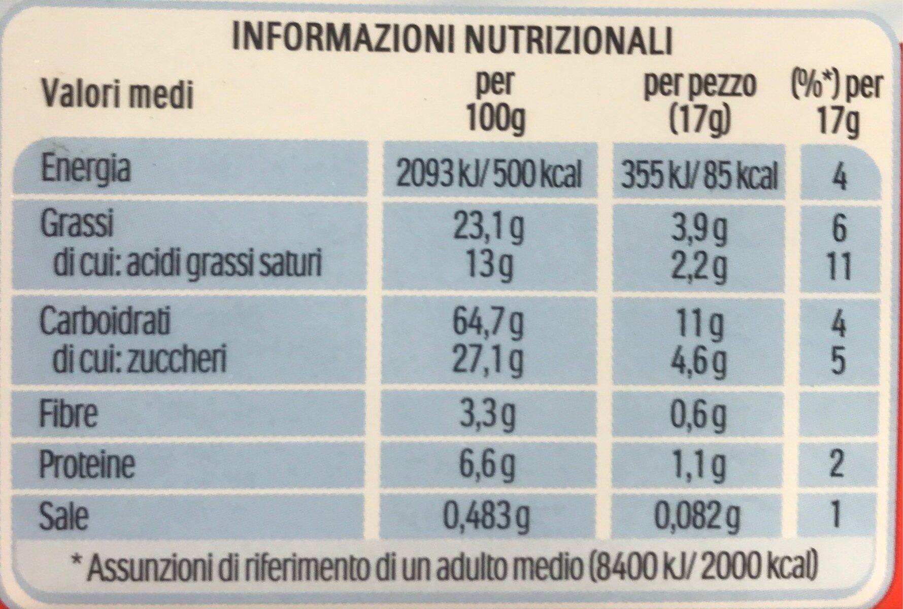 Kinder cereale chocolat noir biscuit petit dejeuner aux cereales et pepites de chocolat noir (2x6) pack de 6x2 biscuits - Valori nutrizionali - fr