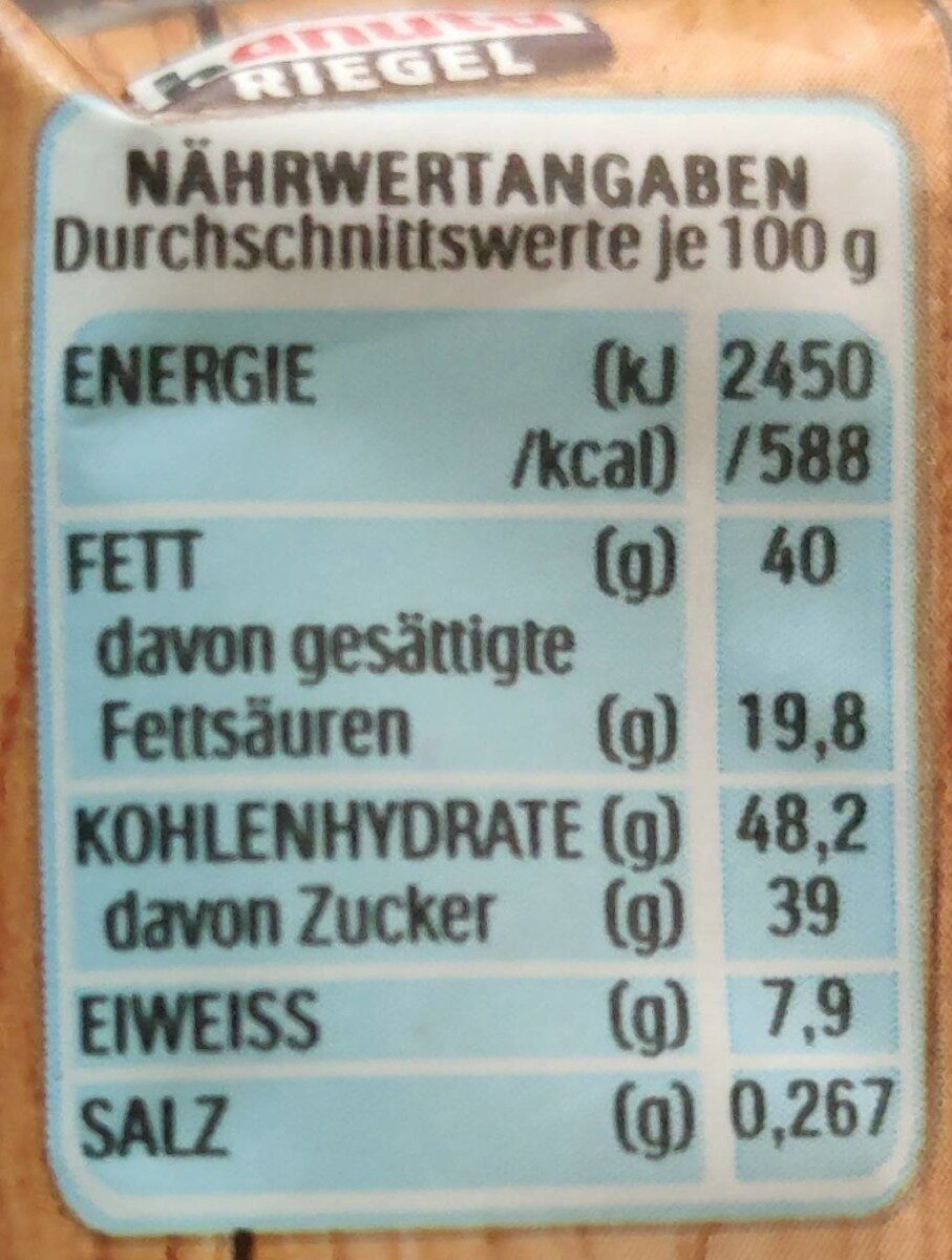 Hanuta Riegel - Nährwertangaben - de