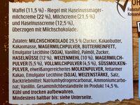 hanuta Riegel - Inhaltsstoffe