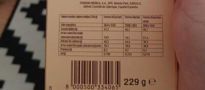 Ferrero prestige - Informació nutricional - es