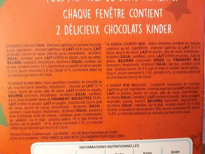 Kinder calendrier for two 308g pour deux - Ingrediënten - fr