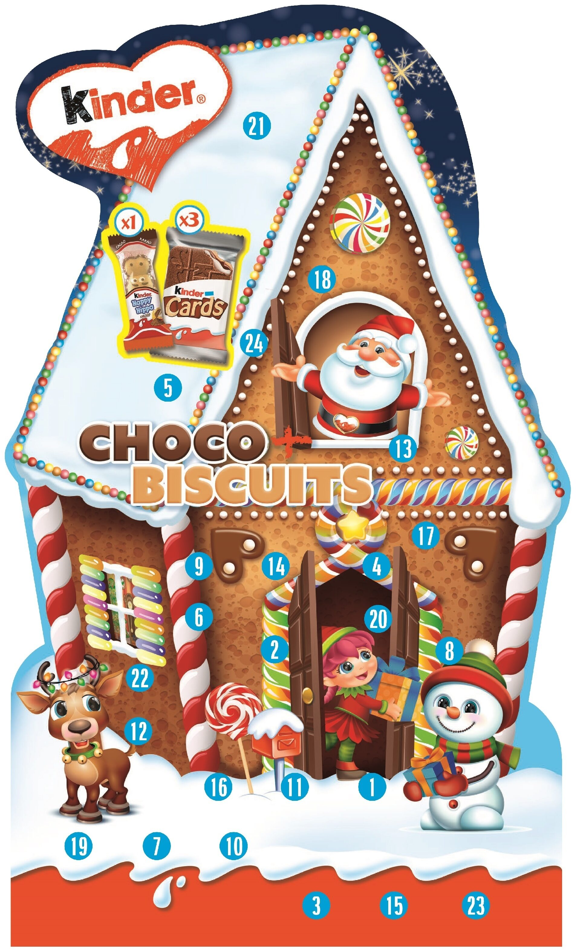 Kinder calendrier biscuit 210g choco+biscuit - Produit - fr