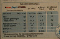 Kinder Riegel Dark & Mild (Big Pack) - Nährwertangaben - de