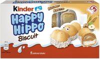 Kinder happy hippo noisette biscuit en forme d'hippopotame fourre au lait et aux noisettes pack de 5 pieces - Prodotto - fr