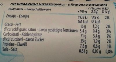 Bucaneve 200G - Nutrition facts