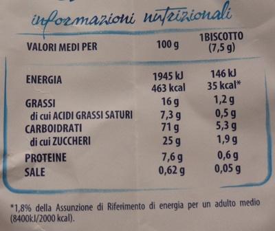 Bucaneve Biscotto frollino - Informazioni nutrizionali - it
