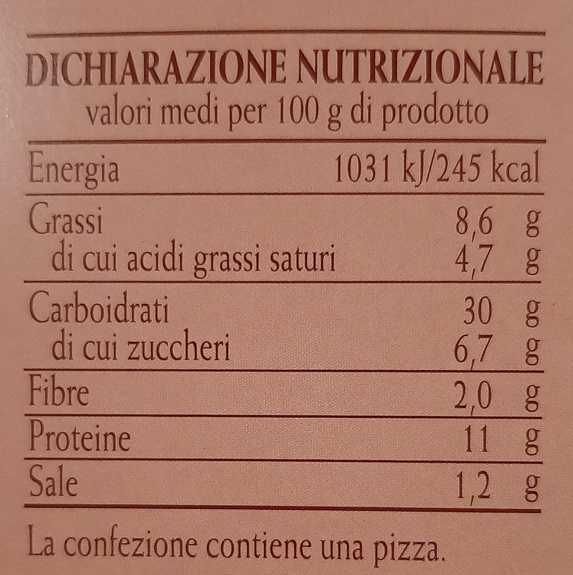 Pizza Margherita - Informations nutritionnelles - it