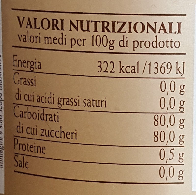 Miele d'Arancio - Nutrition facts - fr