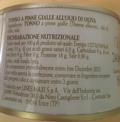 Tonno all'olio di oliva - Informations nutritionnelles - fr