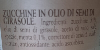 Zucchine alla scapece con menta sottolio - Ingrédients - it