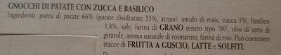 Chicche tricolori con patate, zucca e basilico - Ingrédients - it