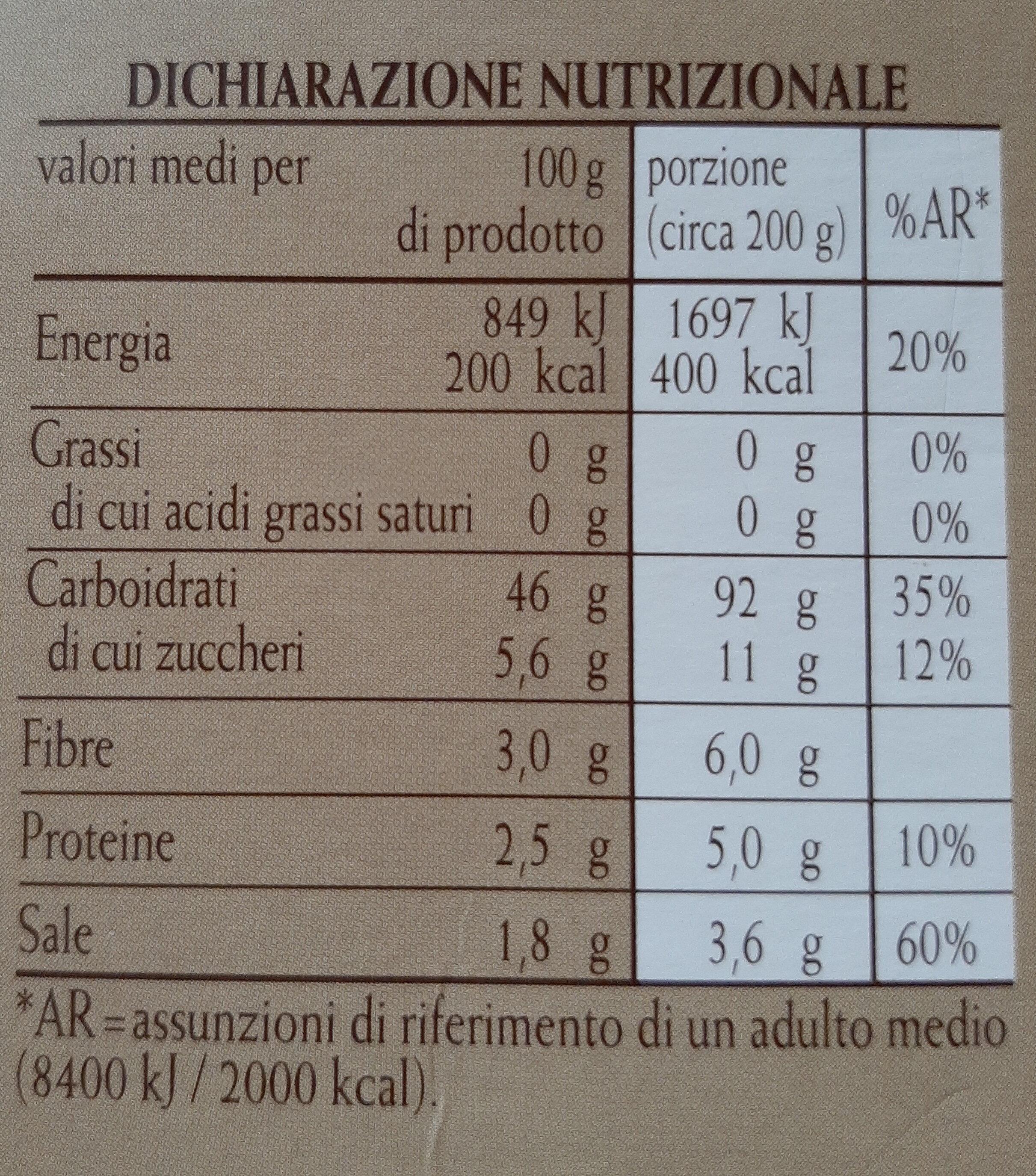 Chicche tricolori con patate, zucca e basilico - Informations nutritionnelles - it