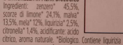Infuso di zenzero, limone, malva, mela, liquirizia e citronella - Ingredients - it