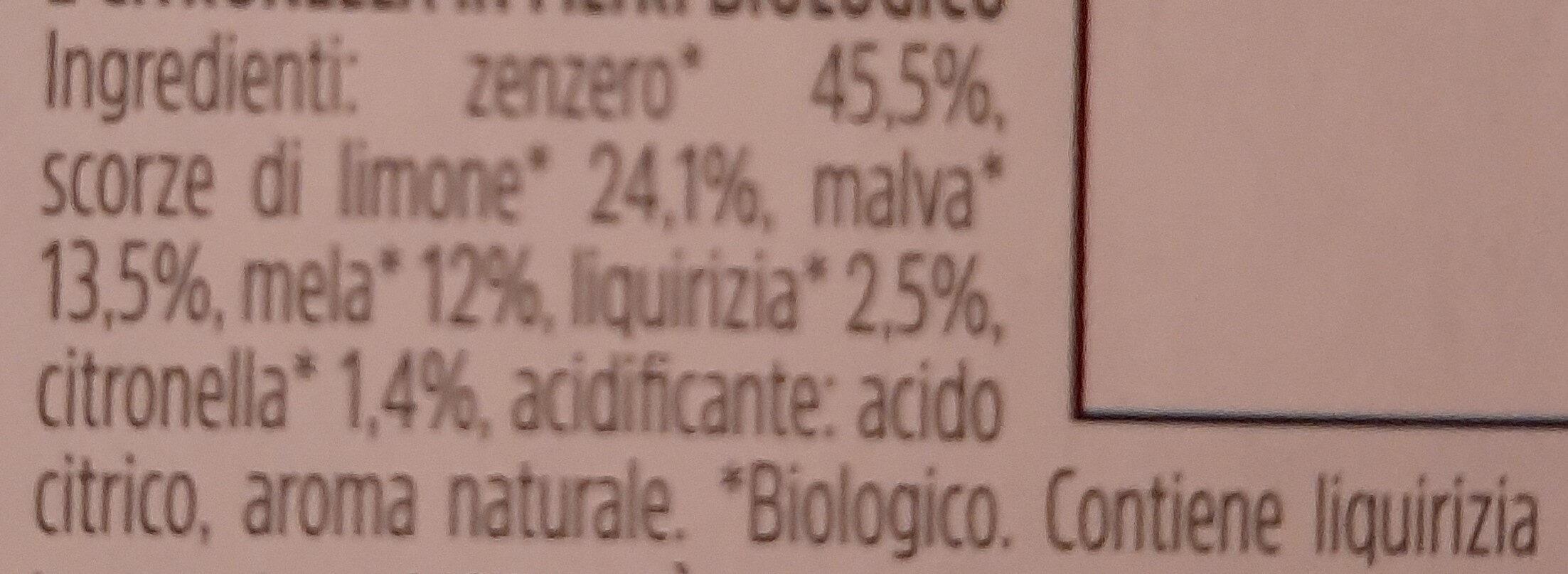 Infuso di zenzero, limone, malva, mela, liquirizia e citronella - Ingredientes - it