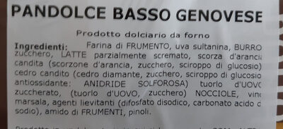 Pandolce Basso Genovese - Ingredients - it