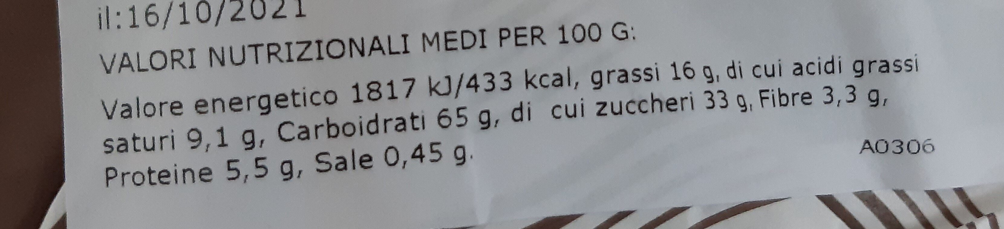 Pandolce Basso Genovese - Nutrition facts - it