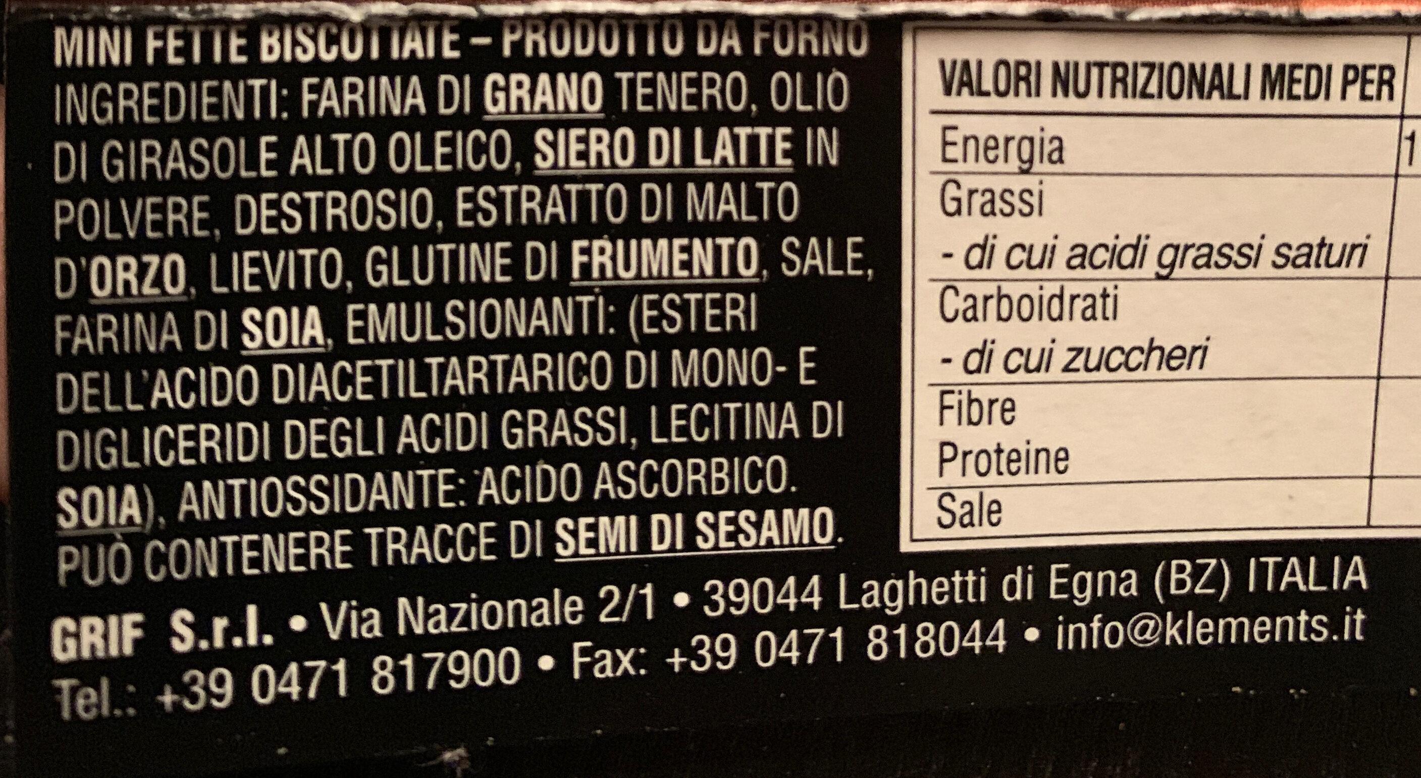 Mini Fette biscottate - Ingredients