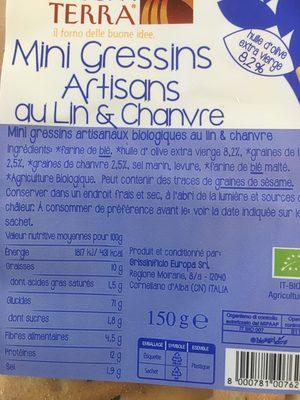 Mini gressins artisans au lin & chanvre - Ingrédients - fr