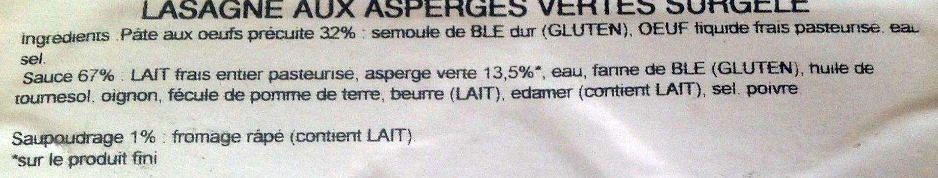 Lasagnes aux Asperges Vertes - Ingredienti