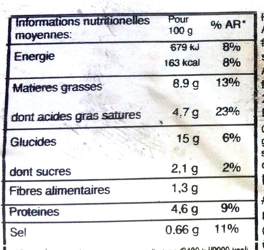 Lasagnes aux Asperges - Informazioni nutrizionali