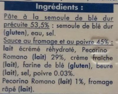 Spaghetti cacio e pepe, Surgelé - Ingrediënten