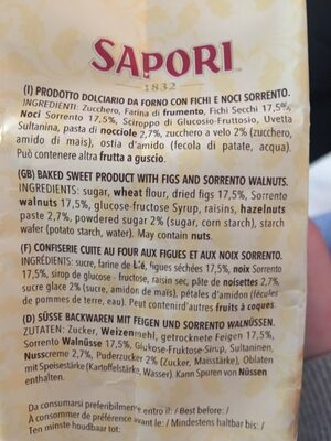 Sapori Mini Panforte Fichi E Noci - Ingredients - fr